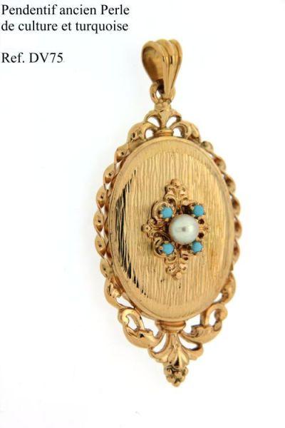 Pendenif-ancien-Perle-de-culture-et-turquoise